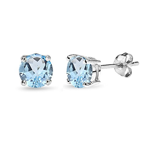 Silver Hoop Teal (Sterling Silver Blue Topaz 6mm Round-Cut Solitaire Stud Earrings)