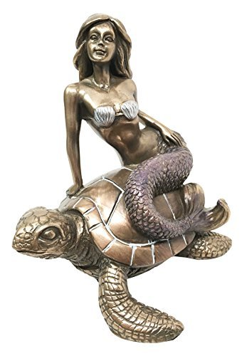 Ebros Ocean Mermaid Riding On Sea Turtle Statue Nautical Sirens Of The Seas Coral Reef Decor Figurine