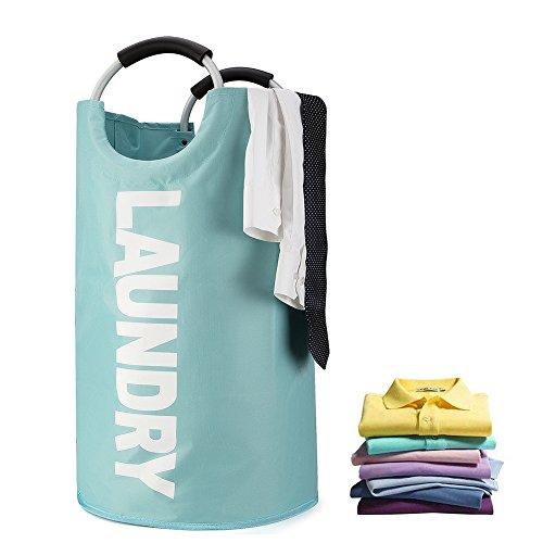 JBYAMUS Large Laundry Basket, Collapsible Waterproof Fabric Laundry Hamper, Foldable Clothes Bag, Folding Washing Bin. (Large, Blue) by JBYAMUS