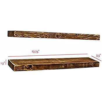 2pc farmhouse style rustic 100 natural solid pine wood floating shelves brackets mounting