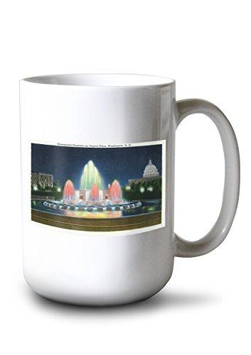 Lantern Press Washington, DC - Evening View of The Illuminated Fountain on Capitol Plaza (15oz White Ceramic Mug)