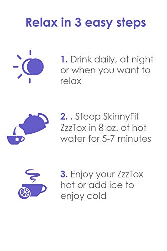 SkinnyFit ZzzTox Nighttime Detox Tea: Caffeine-Free, All-Natural, Laxative-Free, Chamomile, Lavender, Vegan, Non-GMO, Gluten-Free, 28 Servings - Release Toxins Before Bedtime for a Restful Sleep by SkinnyFit (Image #3)