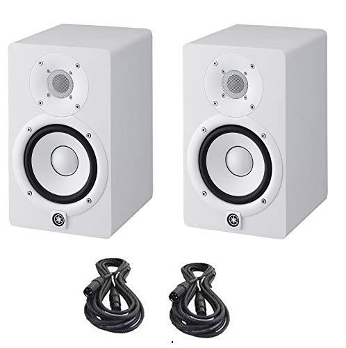 (Yamaha HS5 Powered Studio Monitors Pair WHITE w/XLR Cables - Bundle)
