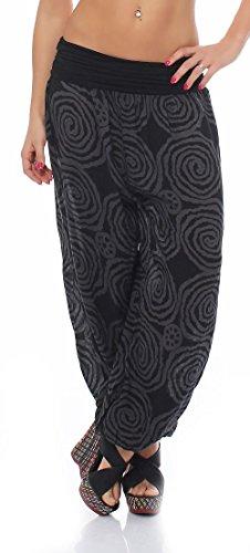 Haremshose Sommerhose Pluderhose Spiral-Muster 1718 Damen One Size (schwarz)