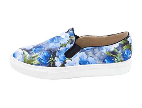 Heine Damen-Slipper Sommer-Slipper abwaschbar blau mit Blütenmuster