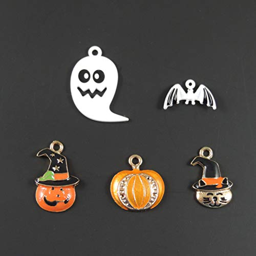 30pcs Mixed Enamel Pendant Halloween Pumpkin Charm Bracelet Necklace Charms DIY Jewelry Accessories