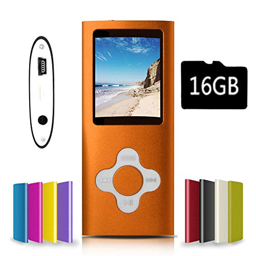 G.G.Martinsen Orange-with-White Versatile MP3/MP4 Player with a 16GB Micro SD Card, Support Photo Viewer, Mini USB Port 1.8 LCD, Digital MP3 Player, MP4 Player, Video/Media/Music Player