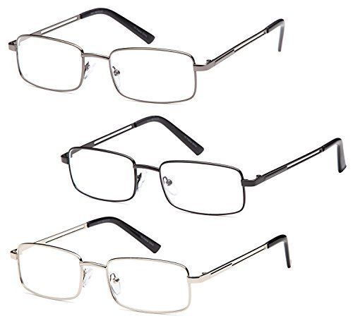 GAMMA RAY 3 Pairs Rectangle Stainless Steel Metal Reading Glasses - 2.00x