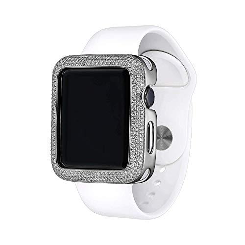 Silver Rhodium Plated Bronze Triple Halo Designer-Style Apple Watch Case (Series 1-2-3-4) with Swarovski Zirconia CZ - Large (Fits 42mm iWatch)