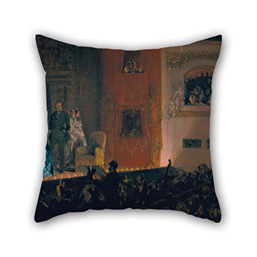 Oil Painting Adolph Menzel - Th???TRE Du Gymnase in Paris Pillow Shams 18 X 18 Inches / 45 by 45 cm Best Choice for Indoor Him Divan Monther Kids Room -