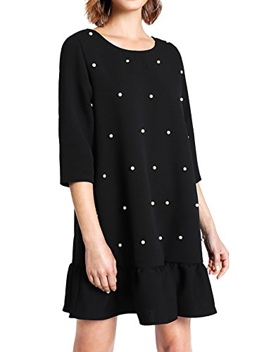Romwe Womens Casual Peal 3/4 Sleeve Shift Ruffle Keyhold Back Mini Short Dress