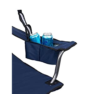 Internet's Best 2 Pack XL Padded Camping Folding Chair | Cooler Bag | Outdoor | Navy Blue | Sports | Insulated Cup Holder | Heavy Duty | Carrying Case | Beach | Extra Wide | Quad