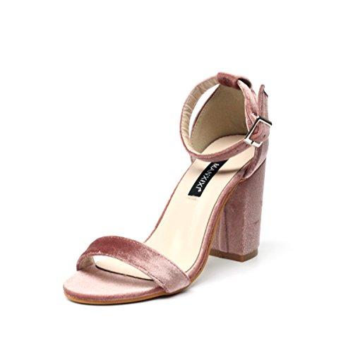 Negro el NVLXIE Gruesa Alto Escuela Trabajo Terciopelo pie Zapato del una de Rosa de Rocío de Simplicidad Dedo Sandalias con Tacón pink Palabra Verano Damas 7qA7wrB