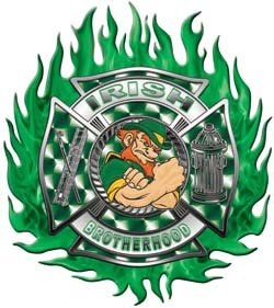 Irish Brotherhood Firefighter Flaming Maltese Cross Flag Decal - 2