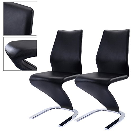 2pcs Black Elegant PU Dining Chairs High Back Support Comfortable And Chromed Base Sturdy Long-lasting TSE053A