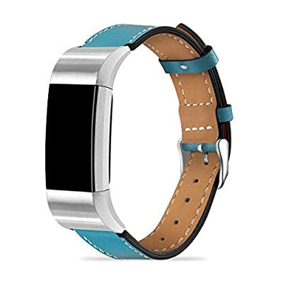 ICHECKEY For Fitbit Charge 2 Replacement Bands, Classic Genuine Leather Wristband with Metal Connectors, Fitness Strap for Charge 2