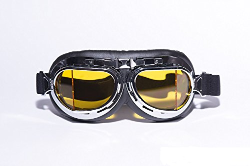 CRG Sports Vintage Aviator Pilot Style Motorcycle Cruiser Scooter Goggle T08 T08SYB Yellow lens, silver frame, black padding