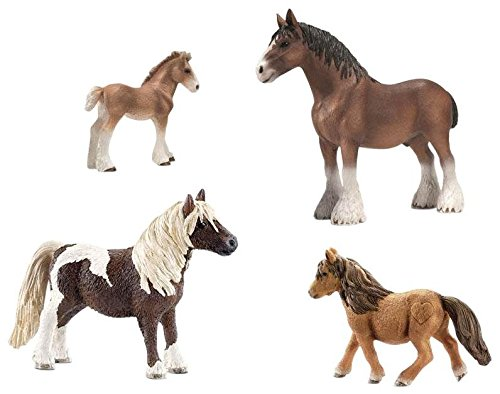 Schleich Clydesdale and Shetland Pony Set