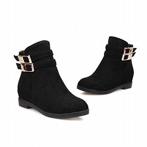 Latasa Kvinna Mode Spännen Dragkedja Inne Kilklack Boots, Jodhpurs Svart