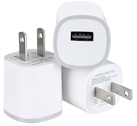 Spark Electronics 3PC 1 Port Rapid Speed [Matte White] Tapered Universal USB Power Adapter Wall Charger Compatible with Apple iPhone 7 7 Plus 6 6S Plus 5 s C Samsung Galaxy S7/S6 Edge Note (Wall Adaptor For Iphone 5)