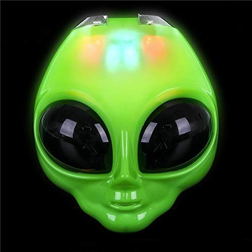 Rhode Island Novelty 8 Inch Light-Up Flip Green Alien Mask One Per Order