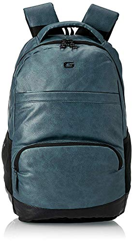 Gear Vintage2 Anti Theft Faux Leather 28 Ltrs Navy Laptop Backpack (LBPVG2LTH0501)