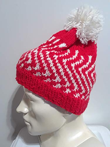 Hand Knit Red and White Blizzard Beanie Cap