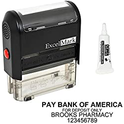 Custom Self Inking Rubber Stamp - Bank Deposit Stamp - 4 Lines - with Ink Bottle 5cc (A2359)