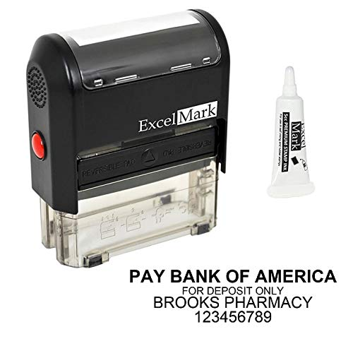 Custom Self Inking Rubber Stamp - Bank Deposit Stamp - 4 Lines - with Ink Bottle 5cc (A2359) ()