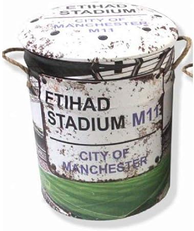 Taburete de metal o cubo de almacenamiento de 44 cm inspirado en el estadio Etihad – Contenedor de almacenamiento retro vintage Mancave Man Cueva, cobertizo de garaje, regalo de taller