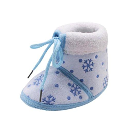 Igemy 1 Paar Chrismas Kleinkind Neugeboren Weihnachten Baby Snow Printed Soft Sohle Stiefel Prewalker Warm Schuhe Blau