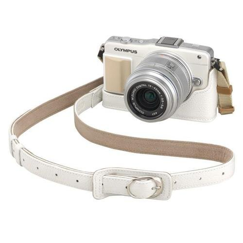 Olympus CSS-S109LL Genuine Leather Shoulder Strap for CS-40B Leather Body Jacket, CSCH-118 Leather Case, Pen F & E-M10 Mark II Digital Cameras, White by Olympus
