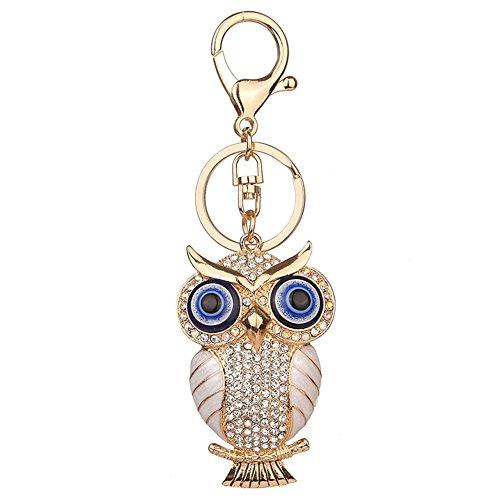 - Quietcloud Cute Owl Shape Rhinestone Keychain Purse Bag Pendant Key Ring Women Ornament (White)