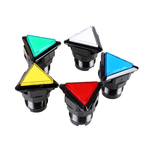 EG STARTS 5X Arcade Buttons Triangle LED Illuminated Push Button Switch for Arcade Coin Machine Operated Games ()