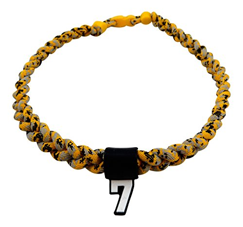 Pick Your Number - Digital Camo Braided Titanium Tornado Necklace (Yellow Digi -