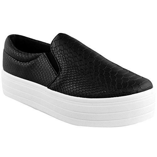 Fashion Thirsty Womens High Skaters Flatform Sneakers Slip On Plimsolls Pumps Shoes Size 8