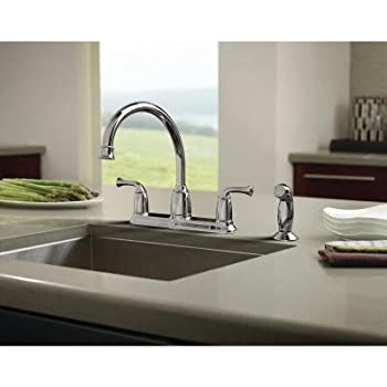 Banbury 2 Handle Mid Arc Side Sprayer Kitchen Faucet In