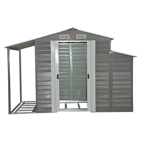 Outsunny 10' x 5' Metal Outdoor Garden Storage Shed w/ Firewood and Side Storage - Gray/White by Outsunny (Image #2)