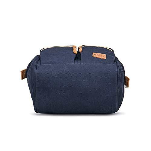 Multifunction Canvas Backpack Travel Bags for Man Woman Casual Laptop Rucksack (Dual Pockets x Blue EB) by Ebesa (Image #3)