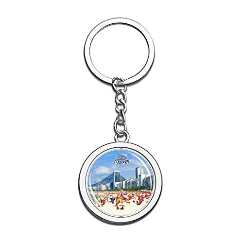 Copacabana Beach Rio de Janeiro Brazil Keychain 3D Crystal Spinning Round Stainless Steel Keychains Travel City Souvenir Key Chain Ring