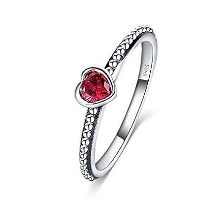 DIYjewelry Inc 2016 nuevo anillo de plata esterlina 100% 925 rojo amor romántica anillo del