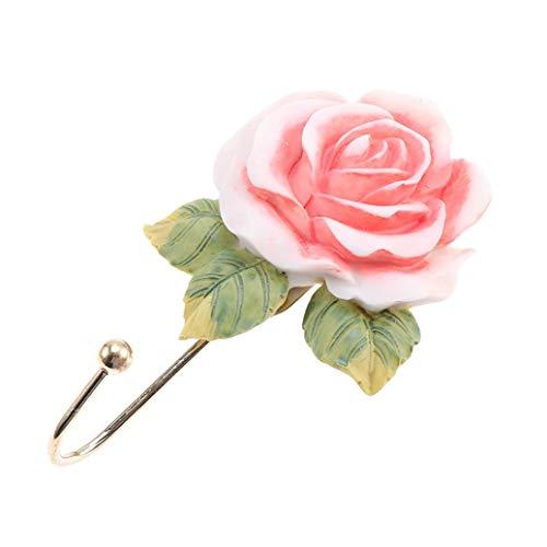 GOMYIE Rose Flower Resin Hooks Anti-Rust Wall Mounted Clothes Sundries Hanger for Wall Door Bathroom Living Room(Single Hook)