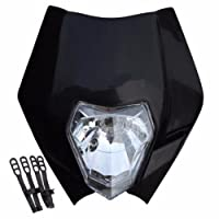 Black Motorcycle Dirt bike Motocross Headlights Streetfighter headlamp Fairing