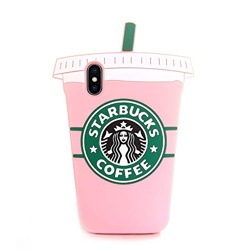 Pink Starbucks Coffee Cup Case for iPhone Xs Max 6.5 Soft Silicone Rubber Shockproof 3D Cartoon Cool Fun Latest Bold Cute High Fashion Hot Gift Women Girls Teens Kids