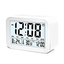Hotwiner LED Clock Slim Digital Alarm Clock Large Display Travel Alarm Clock with Snooze and Nightlight Function,Ascending Sound Alarm & Handheld Sized, Batteries Powered (White)
