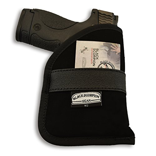 Black Scorpion BSGPNW2 Ambidextrous Neoprene IWB and Pocket Holster - Concealment - Nylon Synthetic - Fit for Glock 42,43,26,27,28,33. Cz 2079 Ram. S&W MP Shield (Best Pocket Holster For Glock 27)