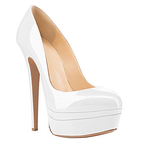 Highpumps Womens High Heel Platform Sandals closed Pumps Handmade For Wedding Party Dress Stiletto Shoes White Wudvq0NvoI