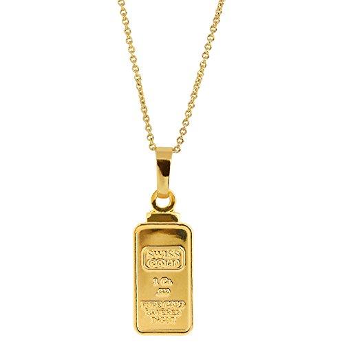 - American Coin Treasures 1 Gram Swiss Ingot Replica Pendant Layered in 24KT Gold