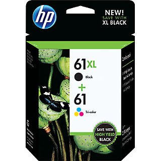HP 61XL/61 High Yield Black and Standard Tricolor Combo Pack (CZ138FN 140) (In Retail Packing) (Hp Ink 61 Color And Black)