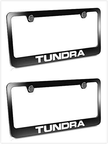 2 Estodia Black Tundra Stainless Steel License Plate Frame Cover Holder Metal with Screws Caps for Toyota Tundra Universal
